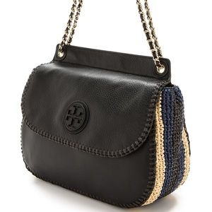 Tory Burch Marion Leather & Woven Straw Saddlebag